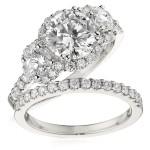 Gottlieb & Sons Engagement Ring Set: Three-Stone Halo
