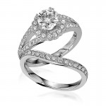 Gottlieb & Sons Engagement Ring Set: Halo with Split Shank