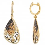Dabakarov White Black and Champagne Diamond Dangle Earrings in 14kt Yellow Gold  (1 1/2ct tw)