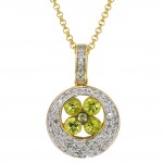 Dabakarov Peridot Necklace in 14kt Yellow Gold with Diamonds (1/7ct tw)