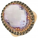Dabakarov Oval Pink Amethyst Ring in 14kt Rose Gold with Champagne and White     Diamonds(7/8ct tw)