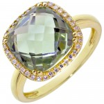 Dabakarov Green Amethyst Ring in 14kt Yellow Gold with Diamonds (1/10ct tw)
