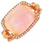 Dabakarov Pink Opal Ring in 14kt Rose Gold with Diamonds (1/4ct tw)