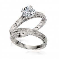 Gottlieb & Sons Hand-Engraved Engagement Ring Set