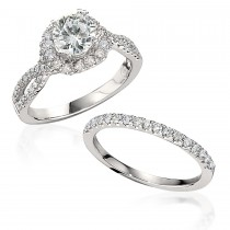 Gottlieb & Sons Engagement Ring Set: Split Diamond Shank Halo