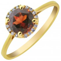 Dabakarov Garnet and Diamond Halo Ring in 14kt Yellow Gold (1/20ct tw)