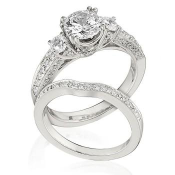 Gottlieb & Sons Engagement Ring Set: 3-Stone Trellis