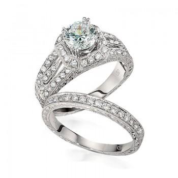 Gottlieb & Sons Engagement Ring Set: Vintage Inspired Split-Shank Halo