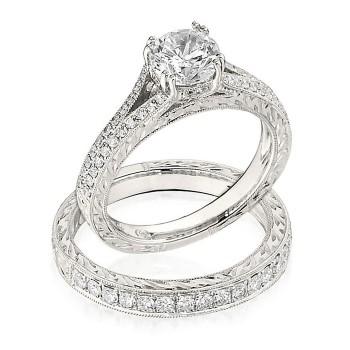 Gottlieb & Sons Engagement Ring Set: Split-Shank Engraved Cathedral