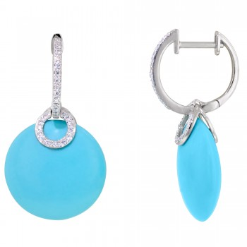 Dabakarov Turquoise Dangle Earrings in 14kt White Gold with Diamonds (1/7ct tw)