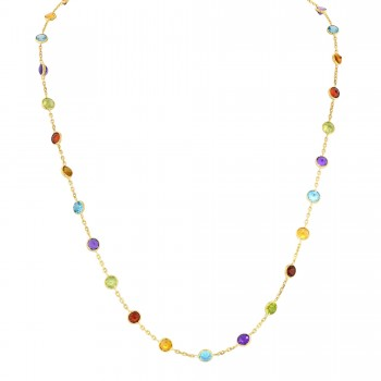 Dabakarov Multi Stone Necklace in 14kt Yellow Gold