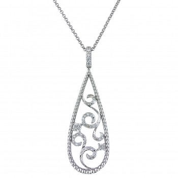 Dabakarov White Quartz Necklace in 14kt White Gold with Diamonds (1/7ct tw)