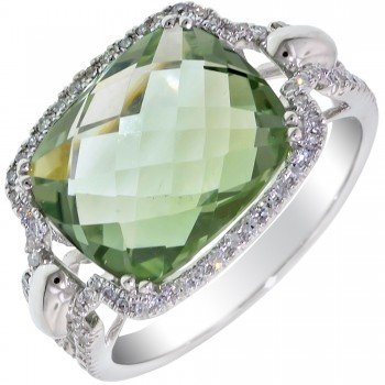 Dabakarov Green Amethyst Ring in 14kt White Gold with Diamonds (1/5ct tw)