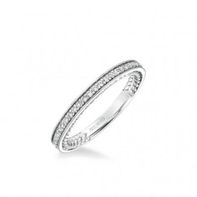 Keira Contemporary Diamond And Rope Wedding Band