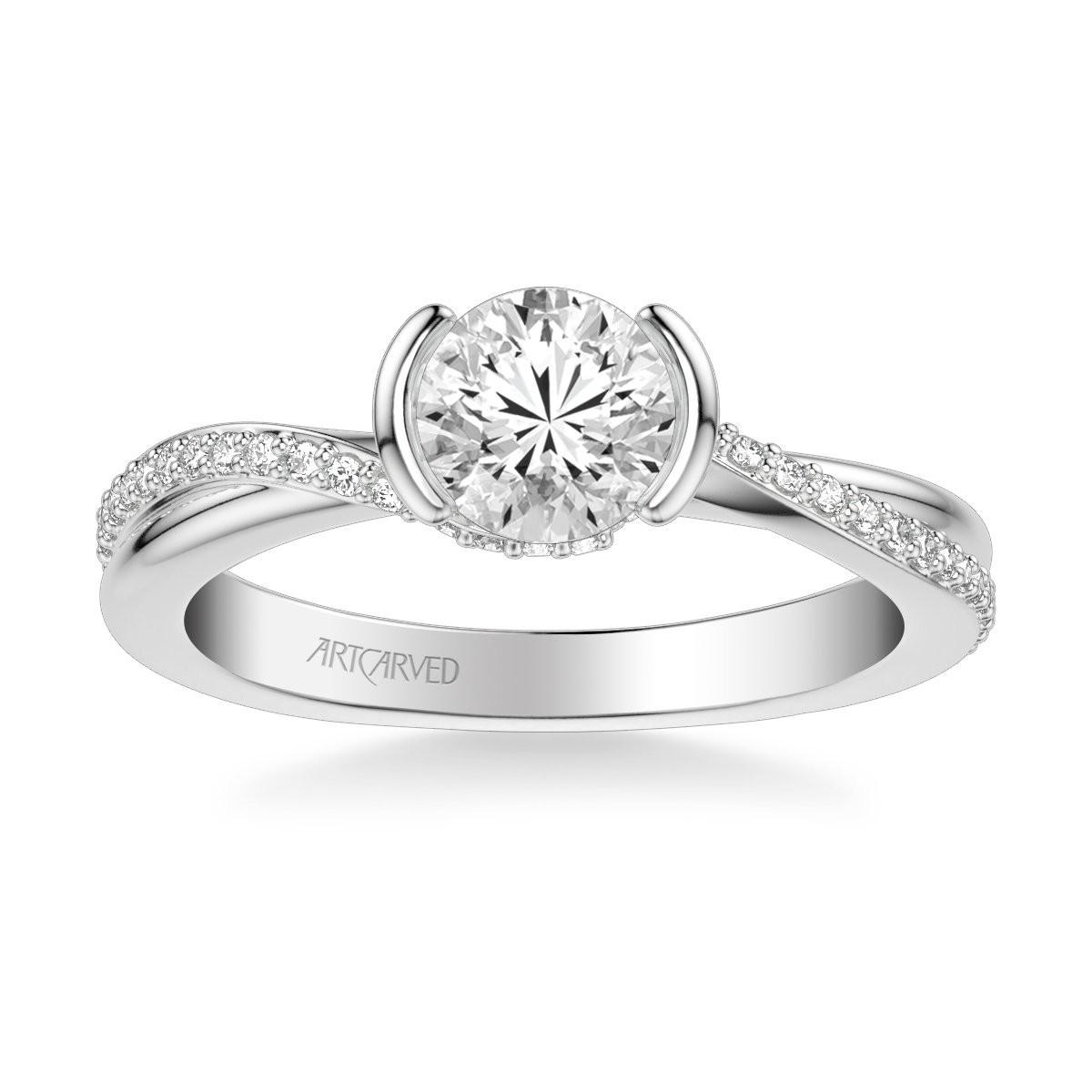 Zola Contemporary Side Stone Bezel Diamond Engagement Ring