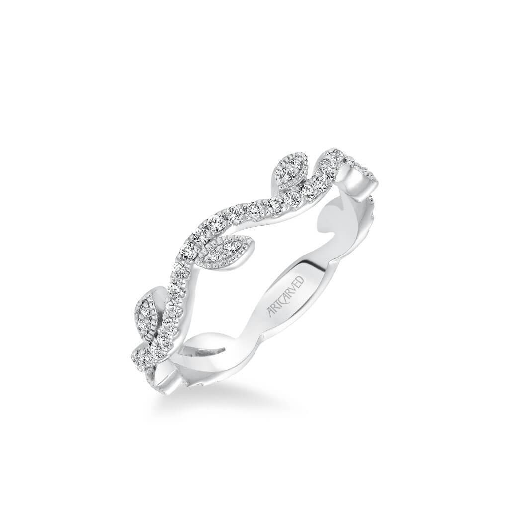 Stackable Band With Diamond Leaf And Vine Accents