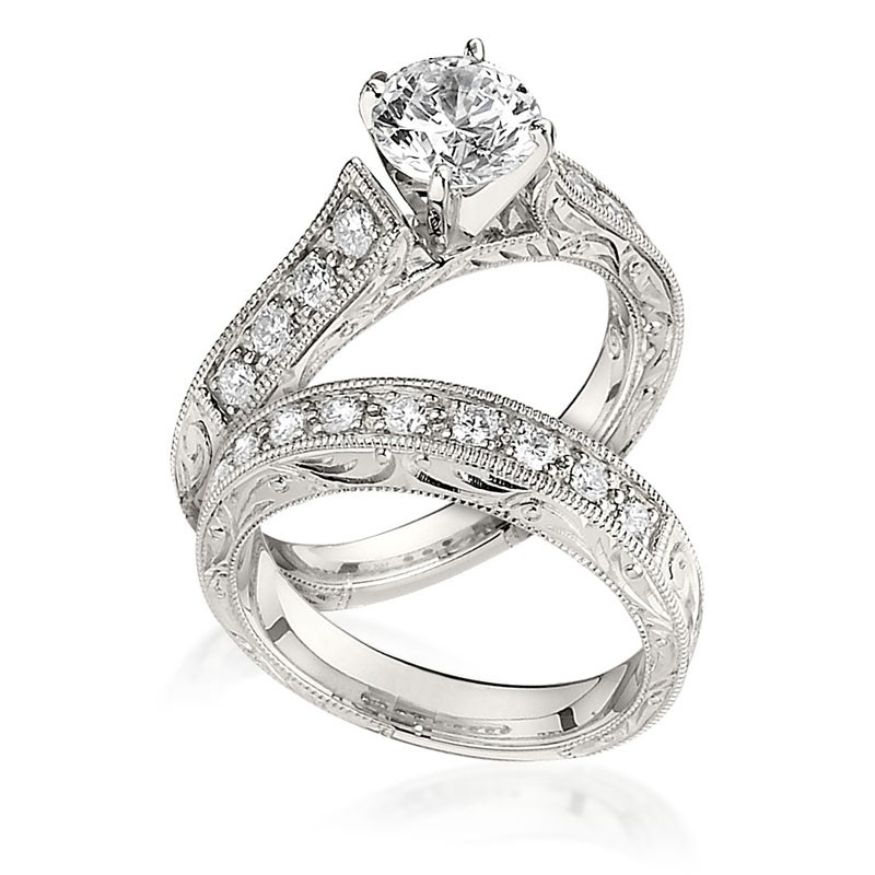 Gottlieb Sons Engagement Ring Set Vintage Inspired Cathedral