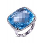14K WHITE GOLD RING WITH BLUE TOPAZ GEM STONE AND WHITE DIAMONDS