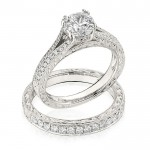 Gottlieb & Sons Engagement Ring Set: Split-Shank Engraved Cathedral