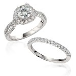 Gottlieb & Sons Engagement Ring Set: Split Diamond Shank Halo