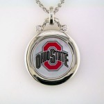 Buckeyes Sterling and Diamond Mother of Pearl Pendant
