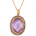 Dabakarov Oval Pink Amethyst Necklace in 14kt Rose Gold with Diamonds (7/8 ct t