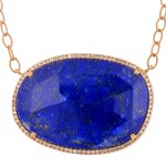 Dabakarov Blue Lapis Necklace in 14kt Rose Gold with Diamonds (1/5ct tw)