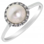 Dabakarov Cultured Freshwater Peal Ring in 14kt White Gold with Diamonds         (1/20ct tw with 6.5