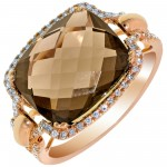 Dabakarov Smokey Topaz Ring in 14kt Rose Gold with Diamonds (1/7ct tw)