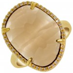 Dabakarov Smokey Topaz Ring in 14kt Yellow Gold with Diamonds (1/10ct tw)