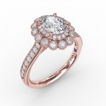Vintage Double Halo Oval Engagement Ring With Milgrain Details
