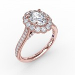 Vintage Scalloped Halo Oval Engagement Ring With Milgrain Details