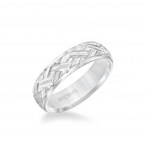 6MM Men's Classic Wedding Band - Criss-Cross Swiss Cut Engraved Design And Step Edge