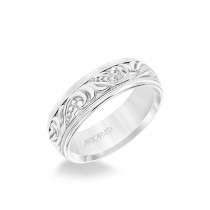 7MM Men's Wedding Band - Engraved Paisley Design With Milgrain Detail And Round Edge