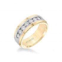 8MM Men's Wedding Band - Channel Set Diamonds And Bevel Edge