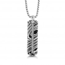 """Silver & Damascus Pattern Dog Tag 26"""" Necklace"""