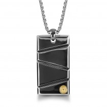 """Silver with Black Ruthenium & Gold Plate 26"""" Dog Tag Necklace"""