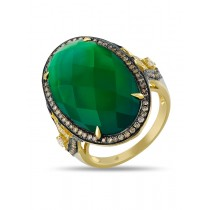 14K YELLOW GOLD RING WITH GREEN AGATE STONE,WHITE AND BROWN DIAMONDS