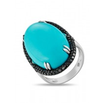 14K WHITE GOLD RING WITH TURQUOISE STONE AND BLACK DIAMONDS