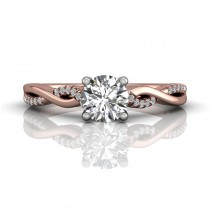Martin Flyer FlyerFit Solitaire 18k Pink Gold Shank And White Gold Top Cut Down Engagement Ring DERM