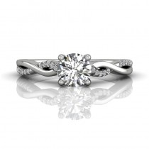 Martin Flyer FlyerFit Solitaire 14k White Gold Cut Down Engagement Ring DERM39XSQ-D-5.7RD