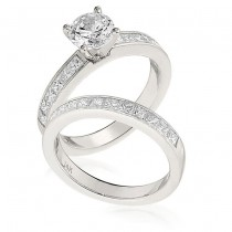 Gottlieb & Sons Engagement Ring Set: Channel-Set with Princess-cut Accents