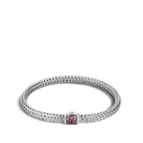 Classic Chain Bracelet with Pink Spinel