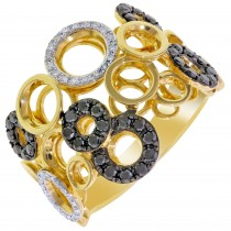 Dabakarov Black and White Diamond Fashion Ring in 14kt Yellow Gold (5/8ct tw)