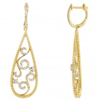 Dabakarov White Quartz Dangle Earrings in 14kt Yellow Gold with Diamonds (1/3ct tw)