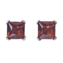14k White Gold Square Garnet Stud Earrings