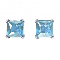 14k White Gold Square Aquamarine Stud Earrings