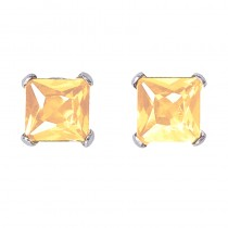 14k White Gold Square Citrine Stud Earrings