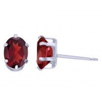 Sterling Silver Oval Garnet Stud Earrings