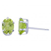 Sterling Silver Oval Peridot Stud Earrings
